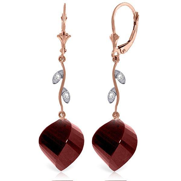 14K Rose Gold 30.5ct Spiral Ruby & Diamond Earring