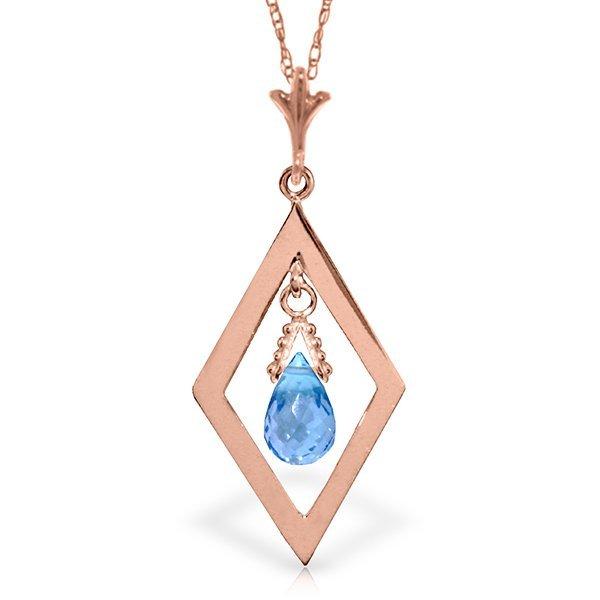 14K Rose Gold .70ct Briolette Blue Topaz Necklace