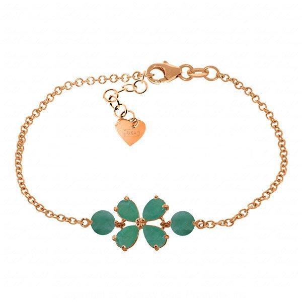 14K Rose Gold 2.15ct & 1.0ct Emerald Flower Bracelet