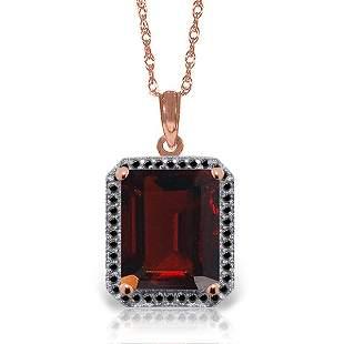 14K Rose Gold 7.50ct Garnet & Black Diamond Necklace