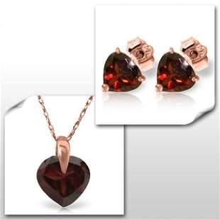 14K Rose Gold Set of Heart Garnet Fine Jewelry (2)
