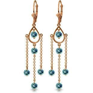 14K Rose Gold 3.0ct Round Blue Topaz Chandelier Earring