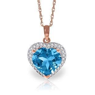 14k Solid Gold 6.30ct Blue Topaz & Diamond Necklace