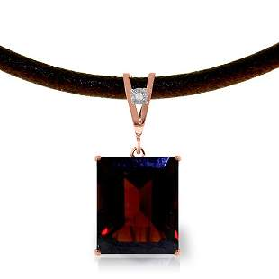 14K Rose Gold 6.5ct Garnet & Diamond Necklace