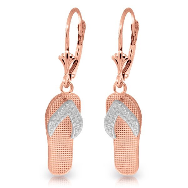 14 Rose Gold Two tone Flip Flop Leverback Earring