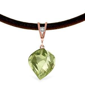 14K Rose Gold 13.0ct Gr.Amethyst & Diamond Necklace