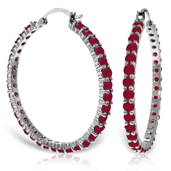 14K White Gold 6.0ct Round Ruby Hoop Earring