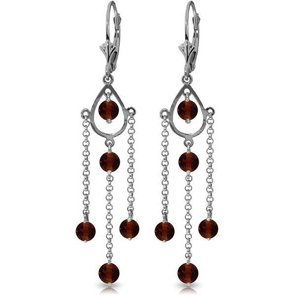 14k White Gold 3.0ct Garnet Long Drop Earrings