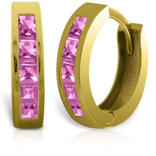 14k Solid Gold 1.30ct Pink Sapphire Earrings