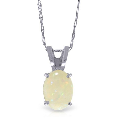 14k Gold 0.45ct Opal Solitaire Necklace