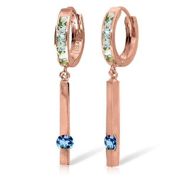 14K Rose Gold .80ct & .55ct Blue Topaz Huggie Earring