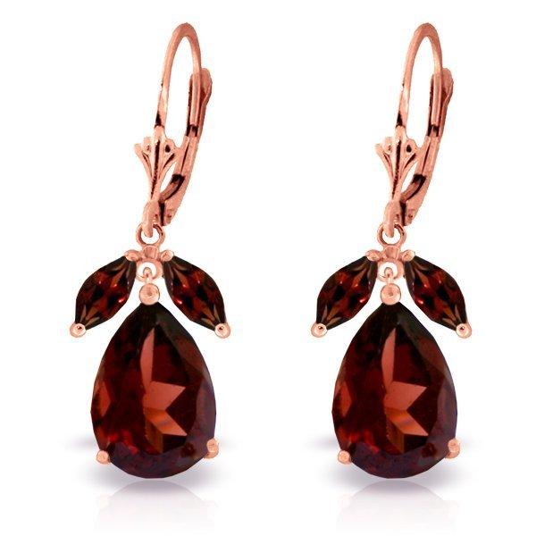 14k RG 12.00ct & 1.00ct Garnet Drop Dangle Earrings