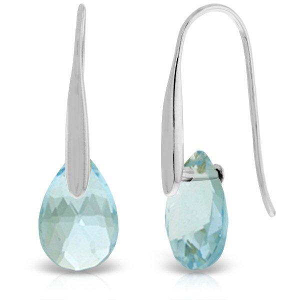 14K White Gold 6.0ct Blue Topaz Fish Hook Earring