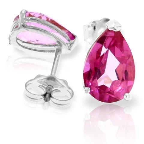 14k 3.15ct Pink Topaz Teardrop Stud Earrings