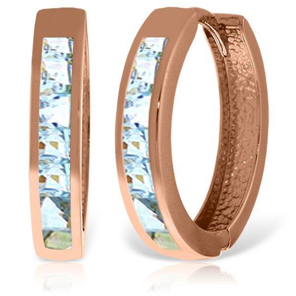 14K Rose Gold 1.20ct Aquamarine Huggie Earring