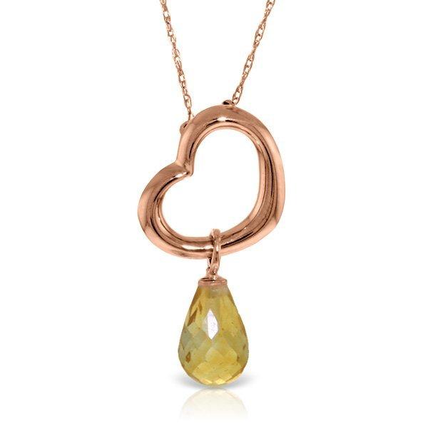 14K Rose Gold 2.25ct Citrine Dangle Heart Necklace