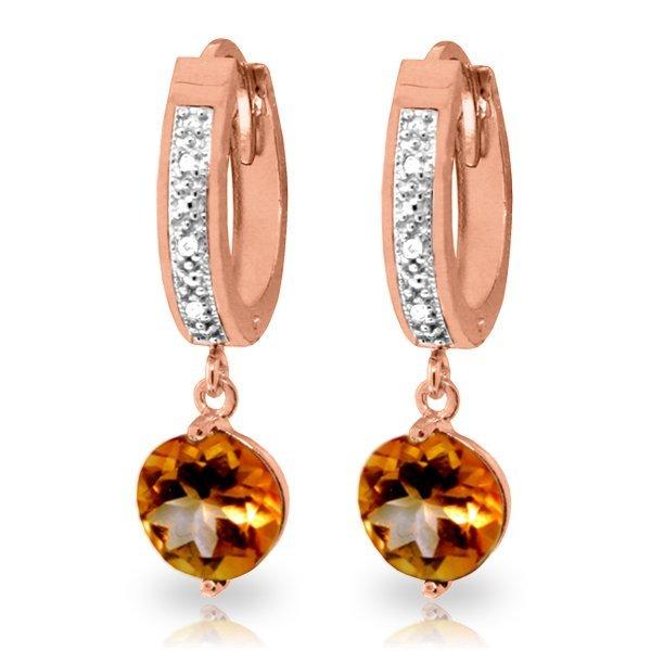 14K Rose Gold 2.50ct Round Citrine & Diamond Earing