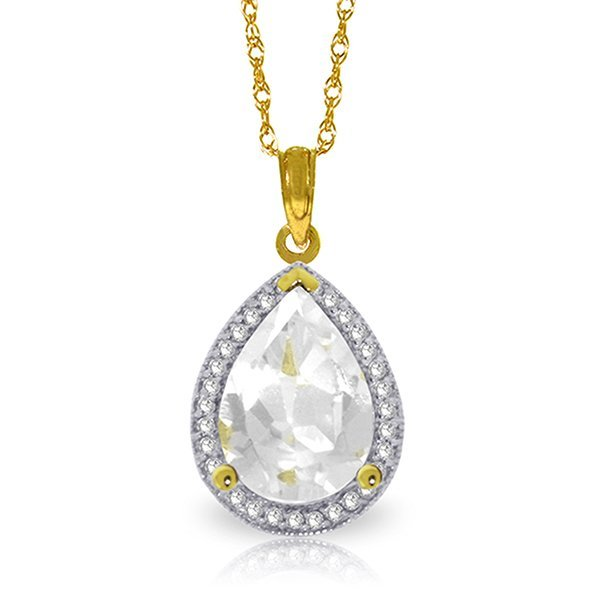 5.61ct 14k Solid  Gold White Topaz Diamond Necklace
