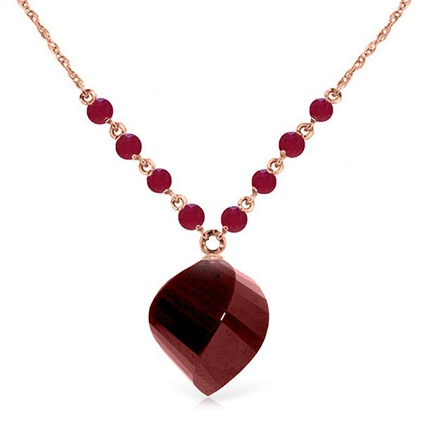 14K Rose Gold 1.0ct & 15.25ct Spiral Ruby Necklace