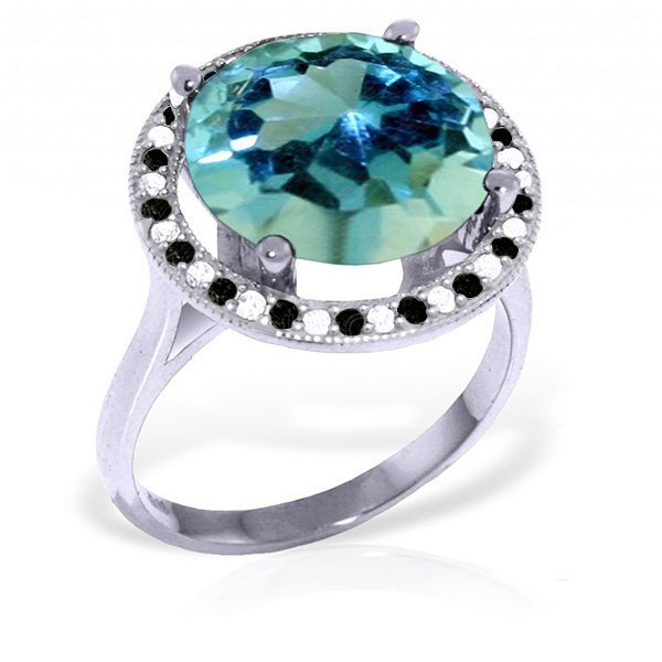 14k WG Blue Topaz & Diamond Eternity Ring