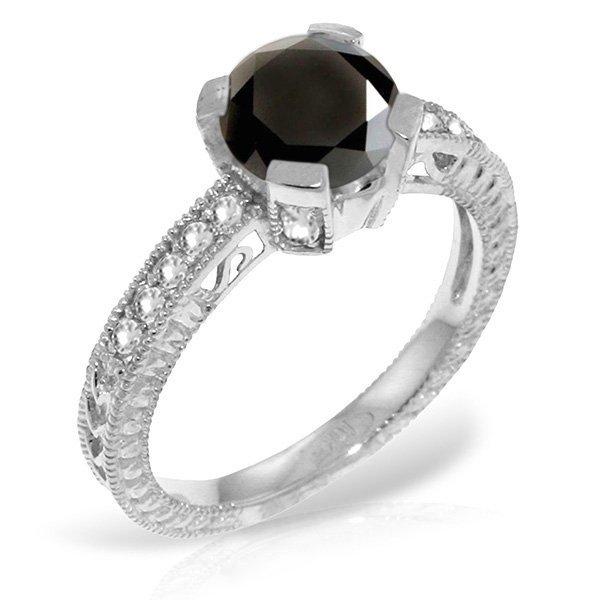 14K White Gold Ring 1.0ct WHITE & BLACK DIAMONDS