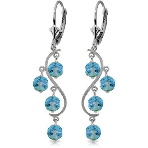 4.95ct ROUND Blue Topaz Chandelier Earring in 14k WG