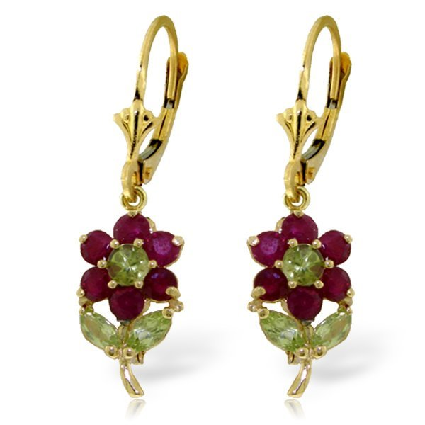 14k Solid Gold Peridot & Ruby Flower Earrings