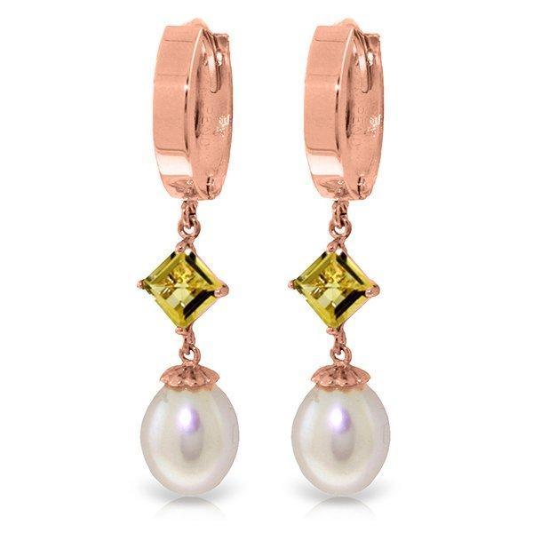 14k Solid Gold 1.50ct Citrine & Pearl Earrings