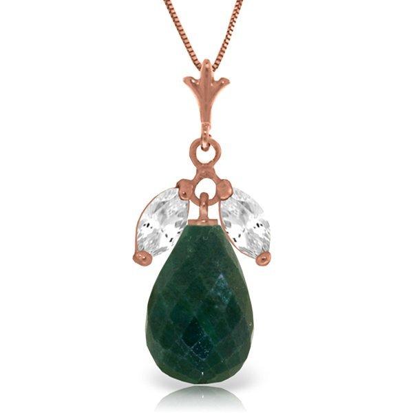 14K Rose Gold 8.8ct Emerald & White Topaz Necklace