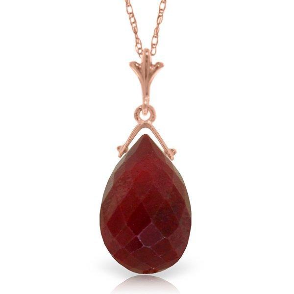 14K Rose Gold 8.0ct Briolette Ruby Necklace
