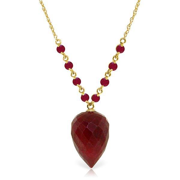 14k Solid Gold Briolette Ruby Necklace