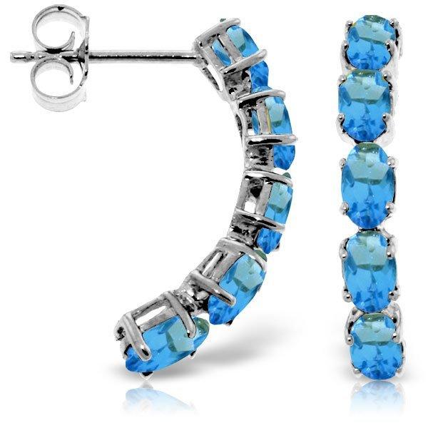 14k Solid Gold 2.50ct Blue Topaz Earrings