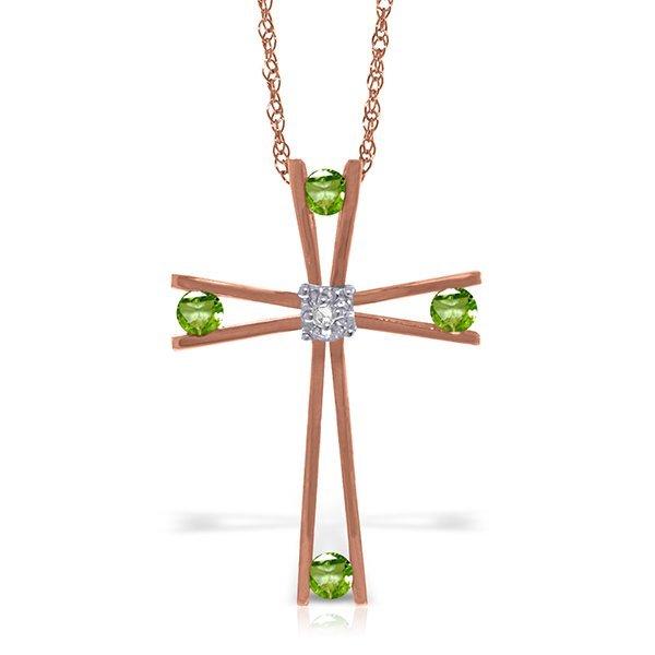 14K Rose Gold .40ct Peridot & Diamond Cross Necklace