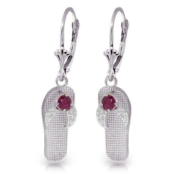 14k WG Flip Flop Earrings with 0.30ct Rubies