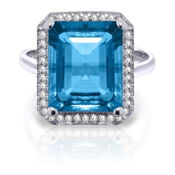 7.8ct 14k White Gold Topaz Rules Blue Topaz Diamond
