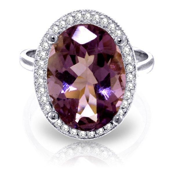 14K White Gold 5.1ct Amethyst & Diamond Ring