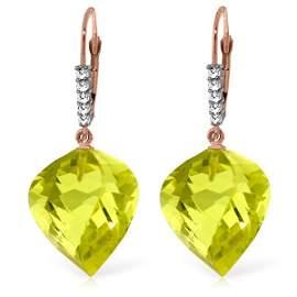 14K Rose Gold 21.50ct Quartz Lemon & Diamond Earring