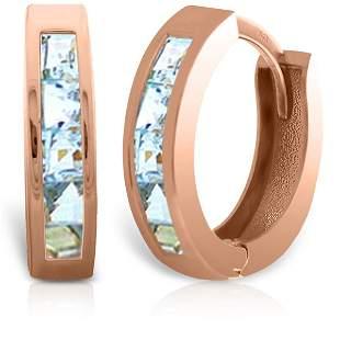 14k Solid Gold 0.85ct Aquamarine Earrings