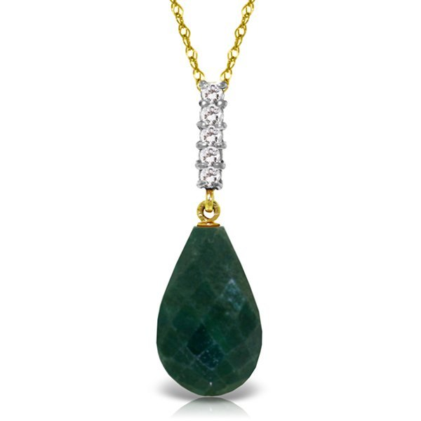 14K Solid Gold 8.8ct Emerald & Diamond Drop Necklace