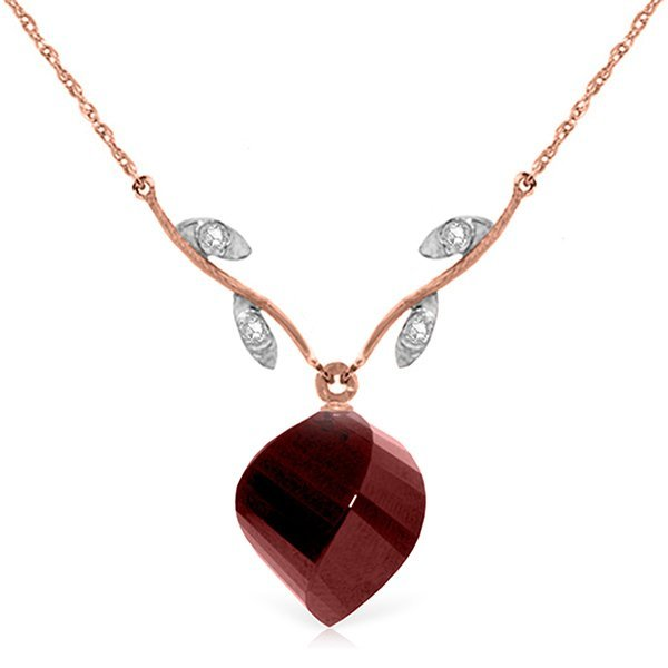 14K Rose Gold 15.25ct  Spiral Ruby & Diamond Necklace