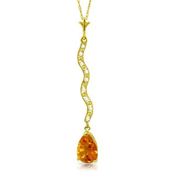 14k Solid Gold 1.75ct Citrine & Diamonds Necklace