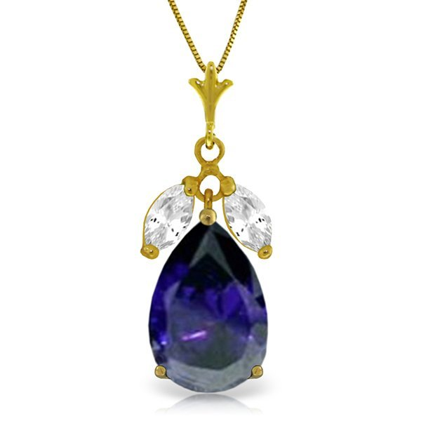 14K Solid Gold 4.65ct Sapphire & White Topaz Necklace