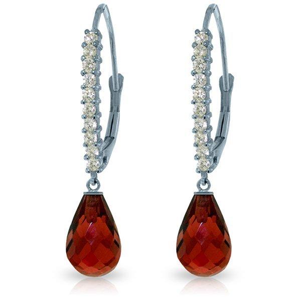 14k Solid Gold 4.50ct Garnet & Diamond Earrings
