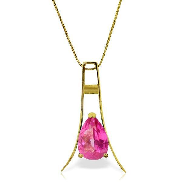 14k Solid Gold 1.50ct Pink Topaz Necklace
