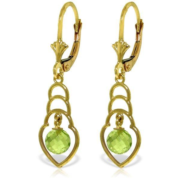 14k YG 1.25ct Peridot Stacked Heart Earrings