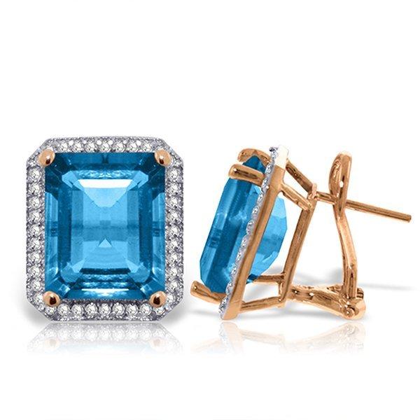 15.6ct 14k Rose Gold Blue Topaz Diamond Earrings