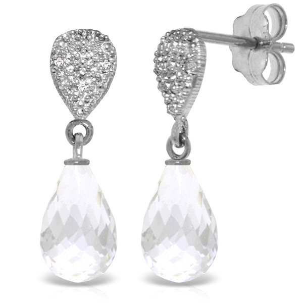 14k 4.50ct White Topaz with Diamond Drop Earrings