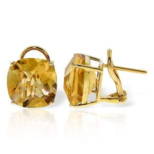 7.20ct Citrine French Clip Earrings in 14k YELLOW GOLD