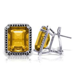 14K White Gold 10.4ct Citrine & Black Diamond Earring