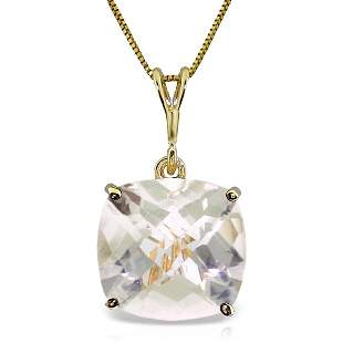 14k Solid Gold 3.60ct White Topaz Necklace